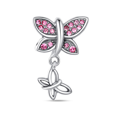 PINK BUTTERFLY DANGLE CHARM - SWAROVSKI