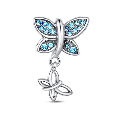 BLUE BUTTERFLY DANGLE CHARM - SWAROVSKI