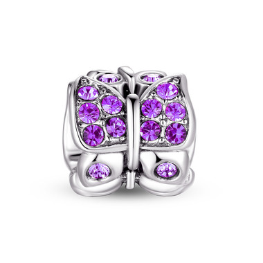 Purple CRYSTAL BUTTERFLY CHARM - SWAROVSKI
