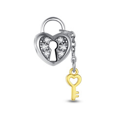 HEART LOCK AND KEY GOLD AND SILVER DANGLE CHARM