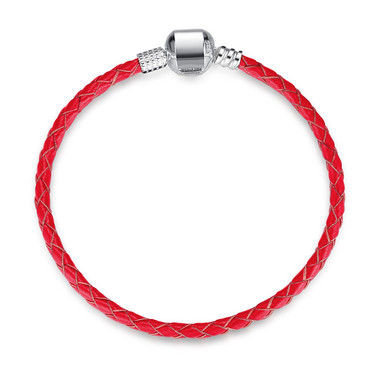 RED LEATHER SILVER CHARM BRACELET
