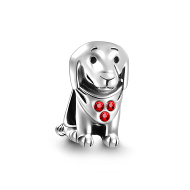 Sterling Silver Dog Charm - SWAROVSKI