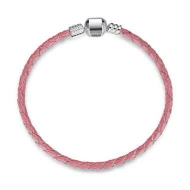 Pink LEATHER SILVER CHARM BRACELET