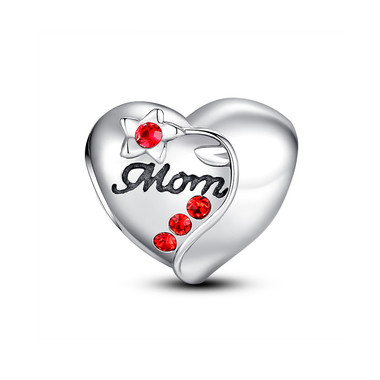 FLOWER MOM HEART CHARM -SWAROVSKI