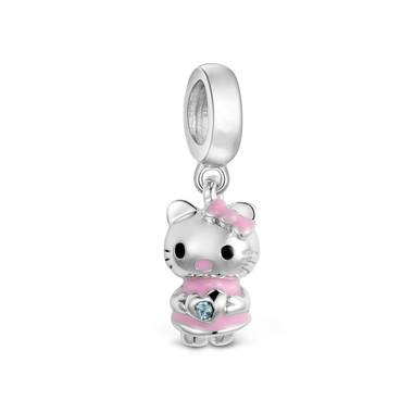 pink cat dangle charm
