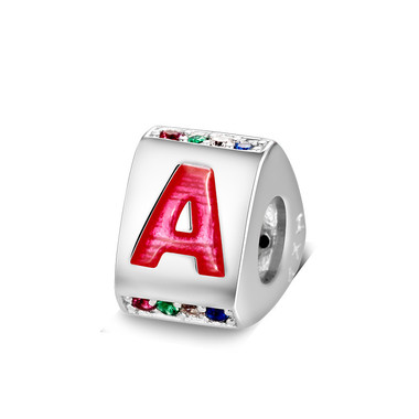 Triangle letter a charm with enamel