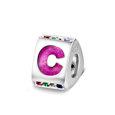 Triangle letter c charm with enamel