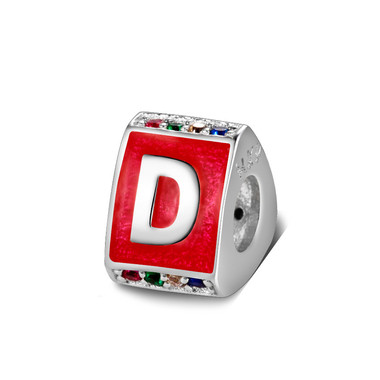 Triangle letter d charm with enamel