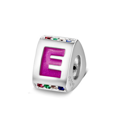 Triangle letter e charm with enamel