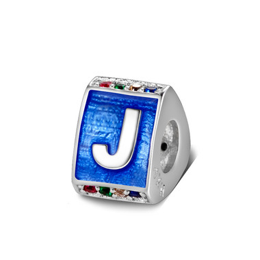 Triangle letter j charm with enamel