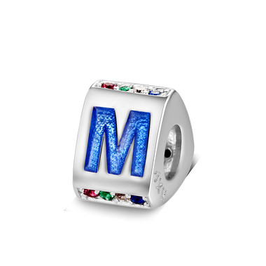 Triangle letter m charm with enamel