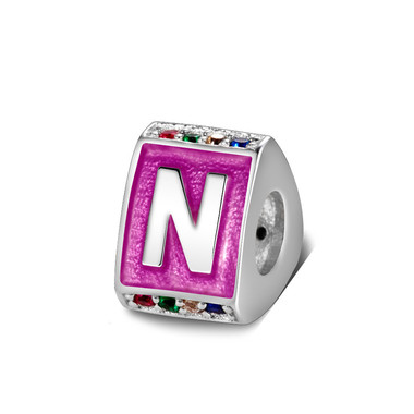 Triangle letter n charm with enamel