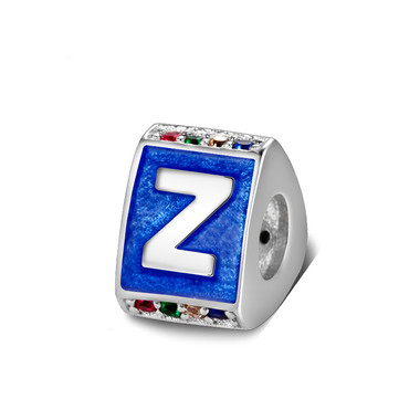Triangle letter z charm with enamel