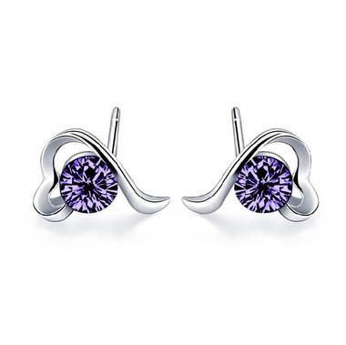 Austrian Crystal Dark Purple Ear Studs