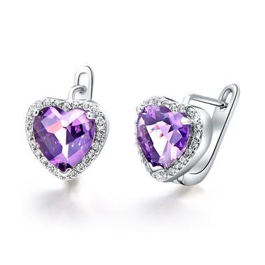 Austrian Crystal Purple Heart Ear Studs