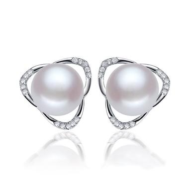 Flower Pearl Earring Studs