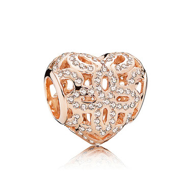 Love Rose Gold Crystal Paved Charm