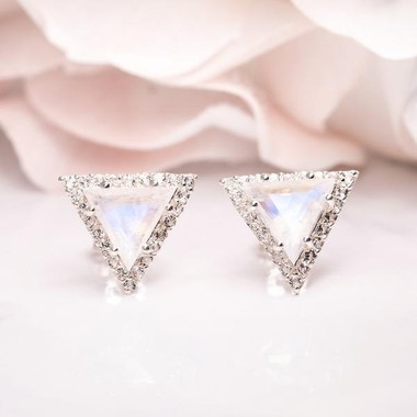 ROSE GOLD  MOONSTONE EARRINGS - ICONIC DELTA