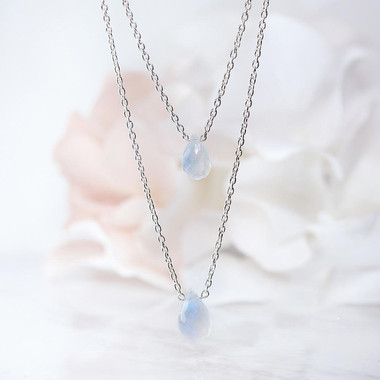 MOONSTONE MULTILAYER NECKLACE - DROPS OF INFINITY