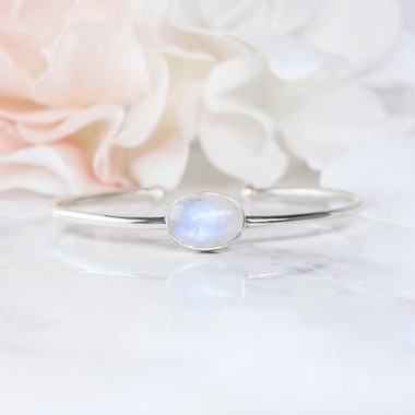 MOONSTONE CUFF - DAINTY SHIELD