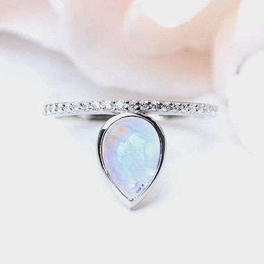MOONSTONE / WHITE TOPAZ RING - TRICKLING GRACE