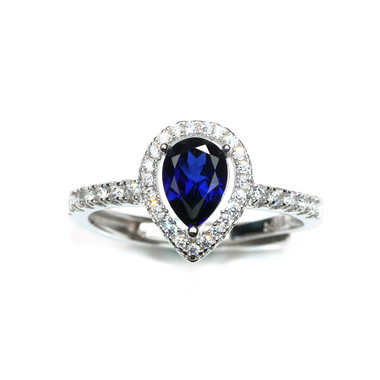 TANZANITE STERLING SILVER RING - HALO