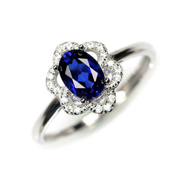 TANZANITE STERLING SILVER RING - SUNFLOWER