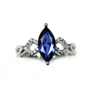 TANZANITE STERLING SILVER RING - MARQUISE