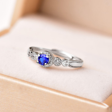 TANZANITE STERLING SILVER RING - TRILOGY
