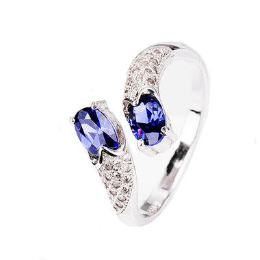 TANZANITE STERLING SILVER RING - TWINS