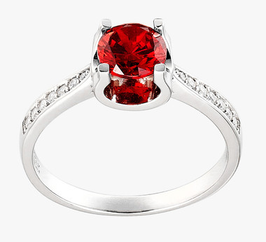 RED GARNET STERLING SILVER RING - CUSHION