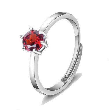 RED GARNET STERLING SILVER RING - TAPERED