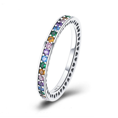 COLORFUL ZIRCON STERLING SILVER RING - RAINBOW