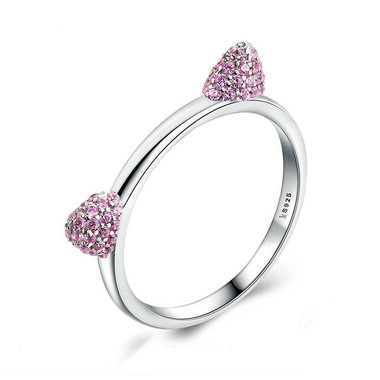 PINK ZIRCON STERLING SILVER RING - PINKY CAT