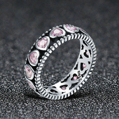PINK ZIRCON STERLING SILVER RING - PINK HEART