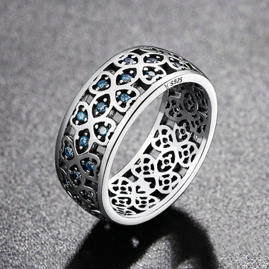 BLUE ZIRCON STERLING SILVER RING - SWEET FOUR LEAF