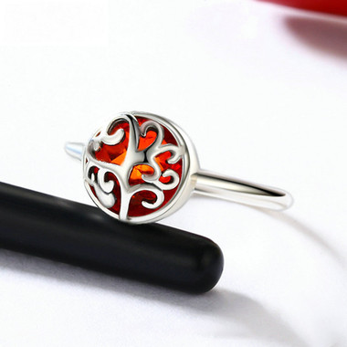 RED ZIRCON STERLING SILVER RING - FIRE LIFE