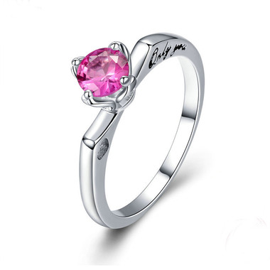 PINK ZIRCON SILVER RING - CONFESSION
