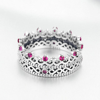 PINK ZIRCON SILVER RING - CROWN