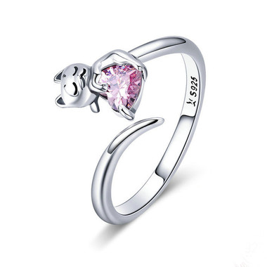 PINK ZIRCON SILVER RING - CUTE CAT