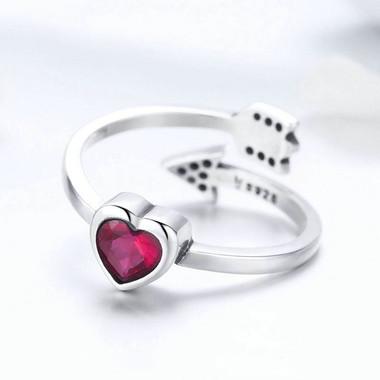 RED ZIRCON SILVER RING - ONE HEART