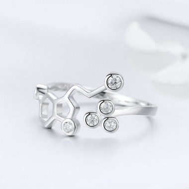 WHITE ZIRCON SILVER RING - HONEYCOMB