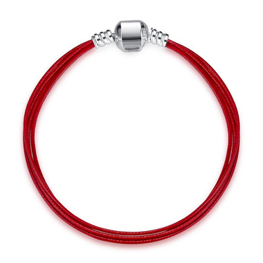 MULTILAYER RED LEATHER SILVER CHARM BRACELET