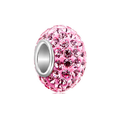 925 Sterling Silver Birthstone Charm with Pink Crystal