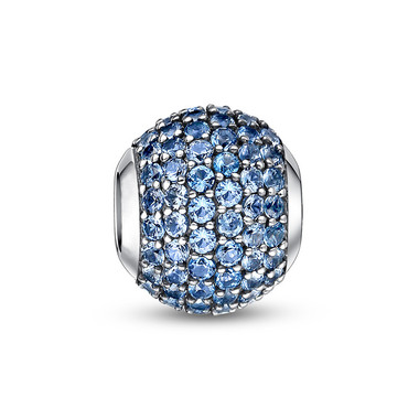 MARCH BIRTHSTONE-LIGHT BLUE PAVED CRYSTAL CHARM
