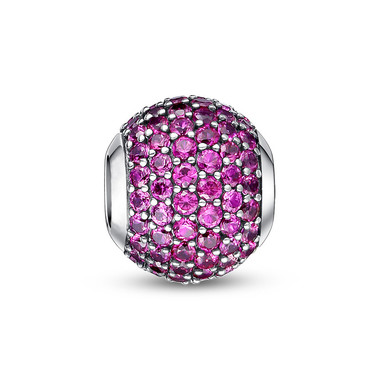 JULY BIRTHSTONE-BRIGHT MAGENTA PAVED CRYSTAL CHARM