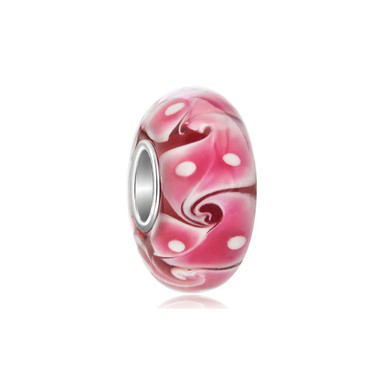 Pink Swirls Waves White Spots Murano Glass Beads
