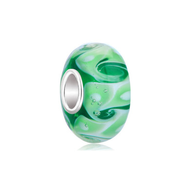 Green Swirls Waves White Spots Murano Glass Beads