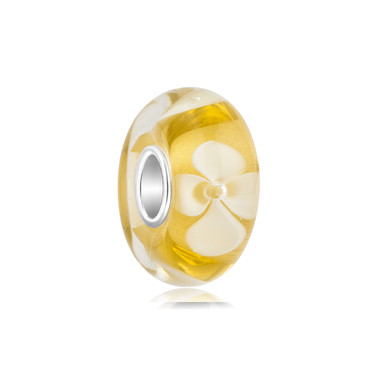 Yellow White Flower Bead