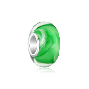 Green Ice Cream Murano Glass Bead